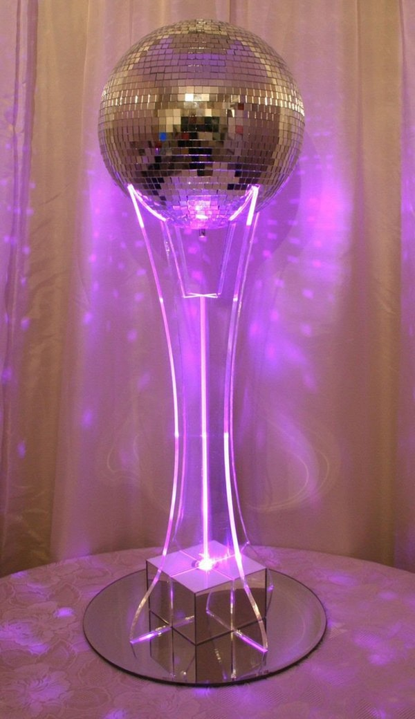 Ball table centres with rechargeable multi colour light boxes