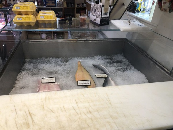 Iced fish counter