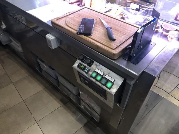 Stainless steel serve over fridge