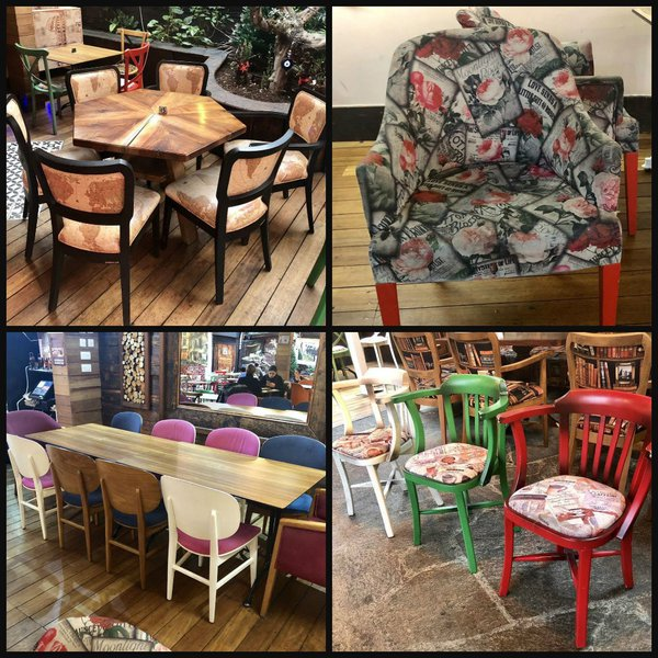 Mixed cafe chairs