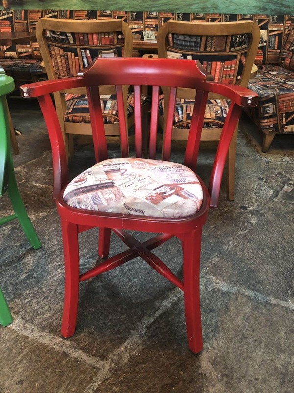 Red cafe chairs with arms