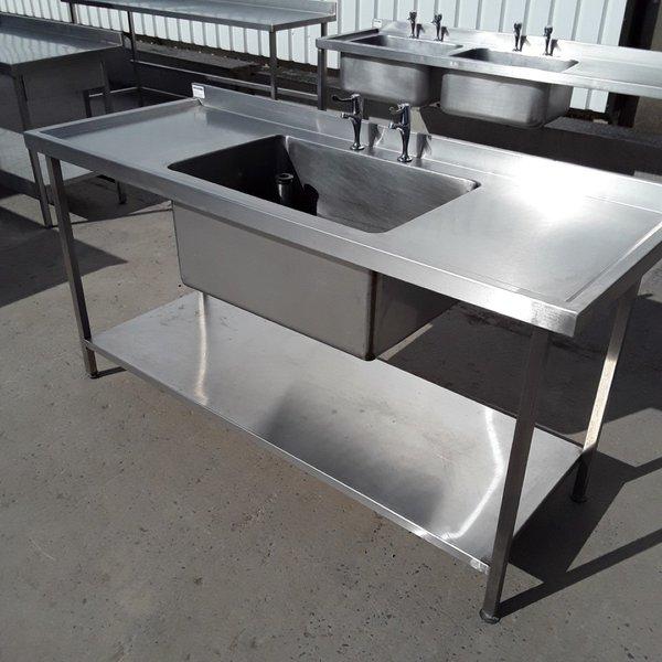 Single deep commercial sink