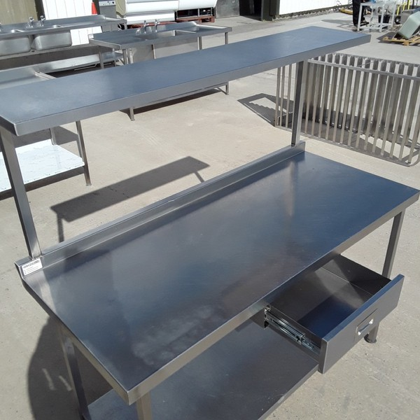 Stainless steel table with shelf and draw