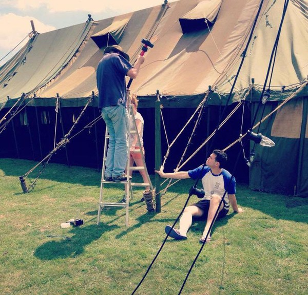 Putting up a traditional marquee