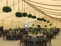 Hanging baskets wedding theming