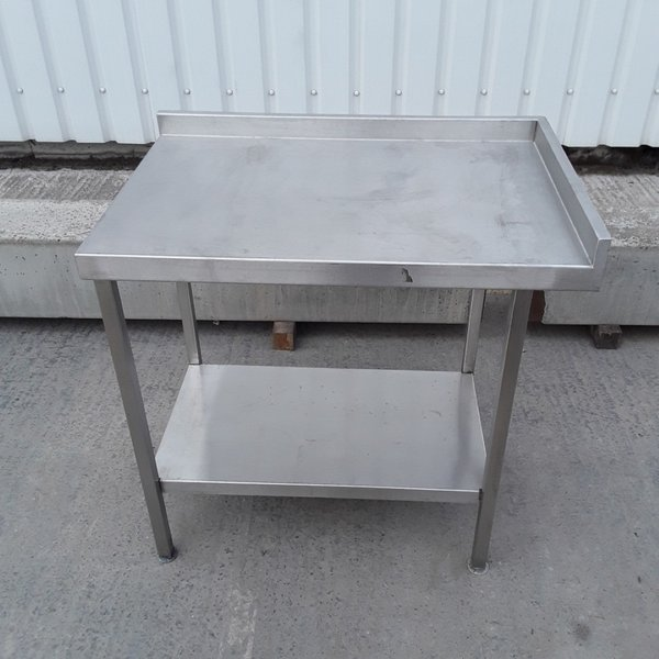 90cm stainless steel table with up stand right hand side and back