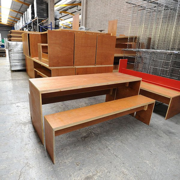 Table & Two Stowable Benches