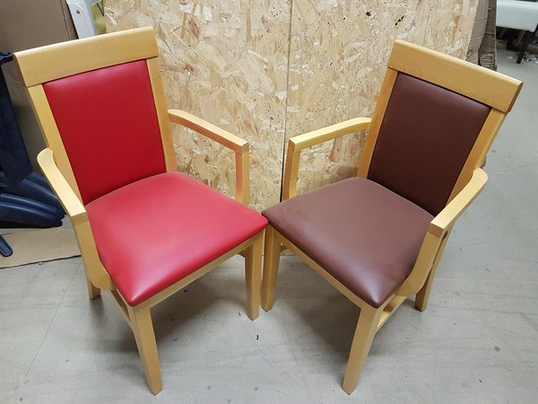 Arm Chairs red and brown
