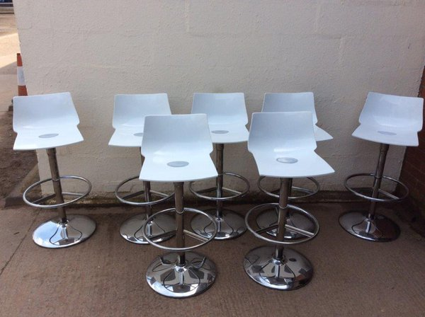 White high bar stools with chrome base