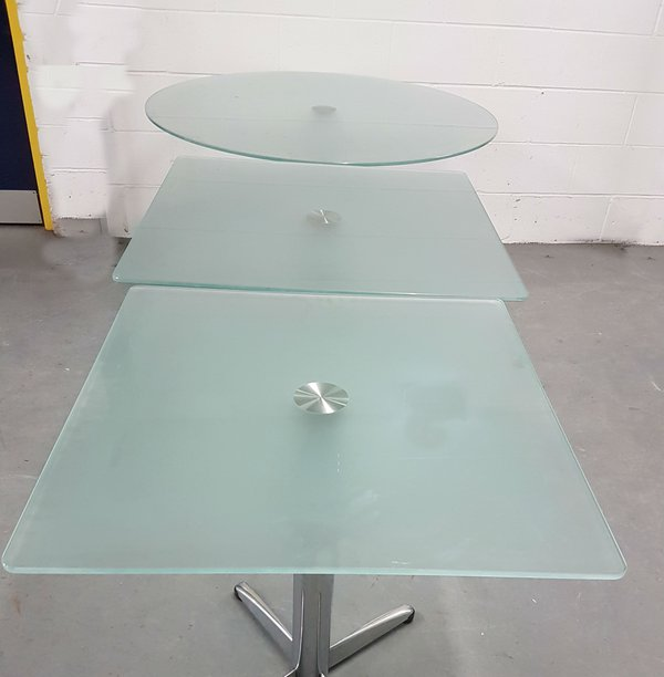 Glass topped tables for cafe or restaurant
