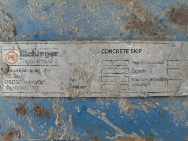 Concrete crane skip 1000kg capacity