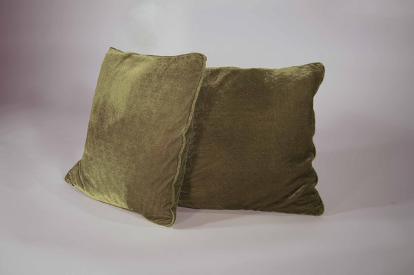 Green velvit cushions