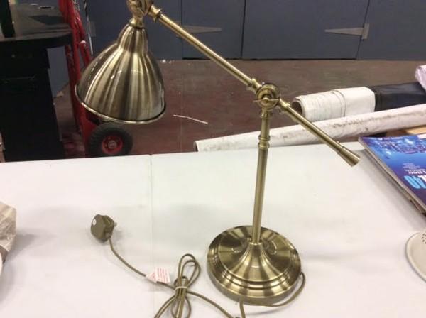 Brass angle-pose lamp