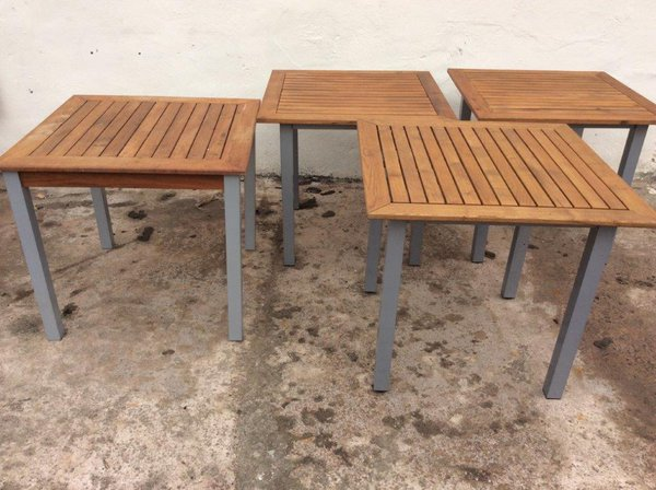 Out side tables with wood top