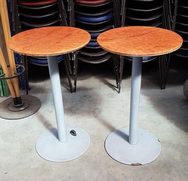 Pair of Round Wooden Topped Tables