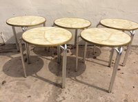 round out door tables with aluminium legs
