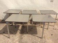 Brushed aluminium cafe tables