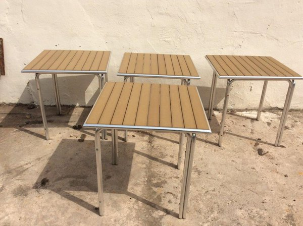 4x outdoor tables with wooden tops and aluminium legs