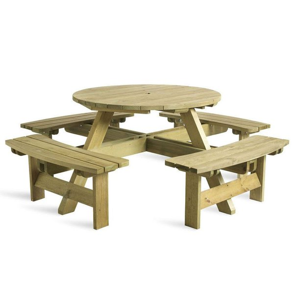 8 Seater Round Wooden Picnic Table
