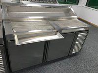 Pizza Preparation Table with Cheese Catcher, Refrigerator and Storage Units