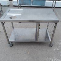 Stainless steel table with wast hole and tray rack