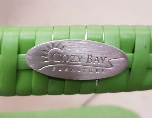 Cozy Bay Green Rattan stacking chairs