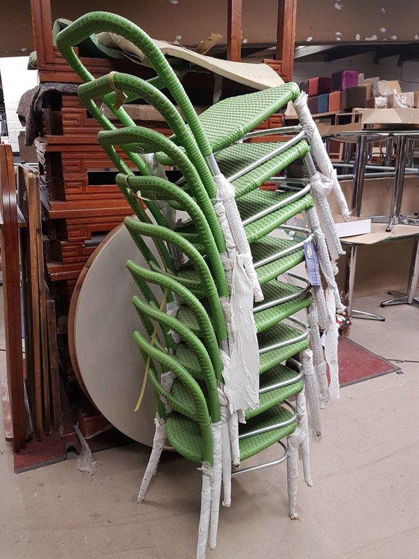 Stacking aluminium chairs