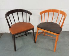 Brown and orange cafe chairs