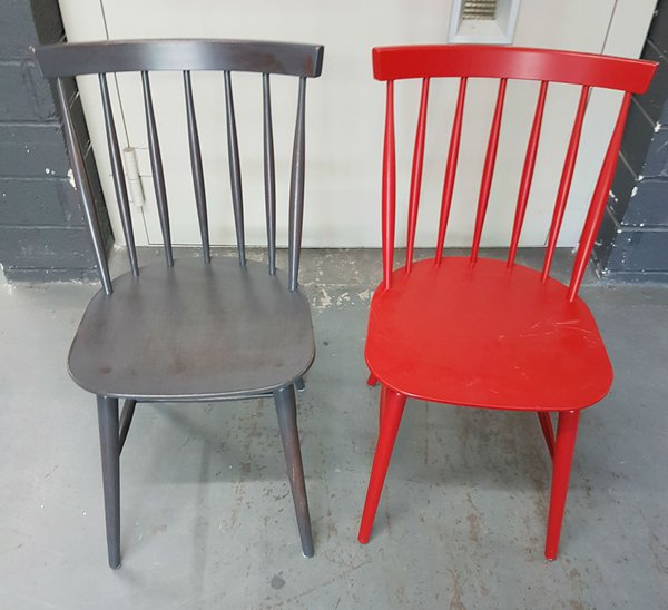 Grey and red cafe chairs