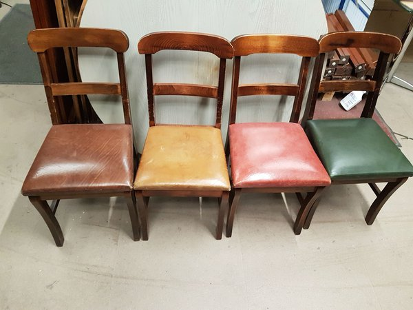 Dining nd Bar Back chairs with Real UK upholstered seats in 4 colour ways :  4 Brown, 8 Green, 9 Red and 2 Tan