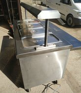 Pub carvery counter with heated gantry