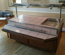 white tiled carvery counter