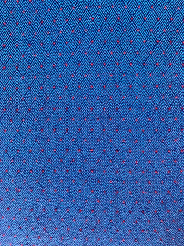 Blue and red upholstery
