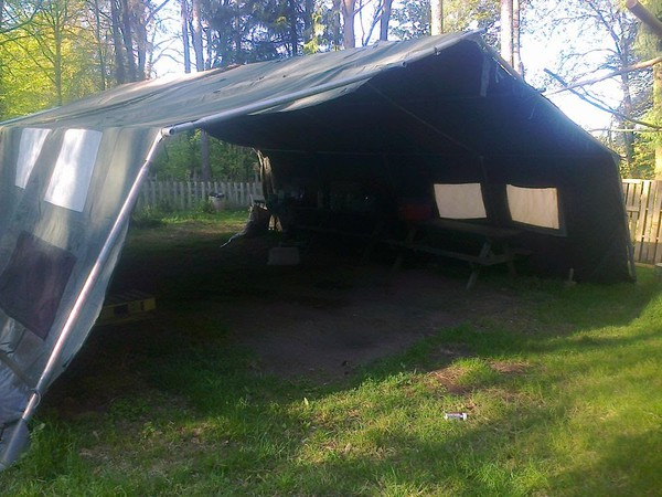 Used Army Frame Tent. 21ft x 24ft. Good condition.
