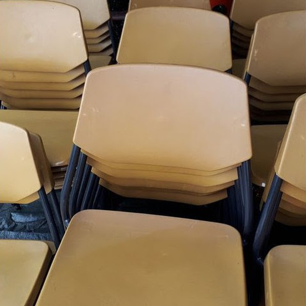 Mustard Colour Plastic Stacking Chairs