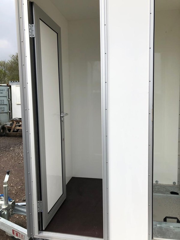 White GRP Toilet trailer for sale