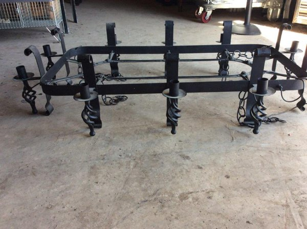 Black wrought iron pub chandelier