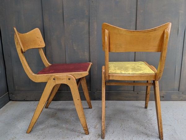 Yellow and red vintage chairs