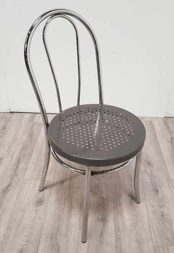 Chromed steel bentwood stacking chairs