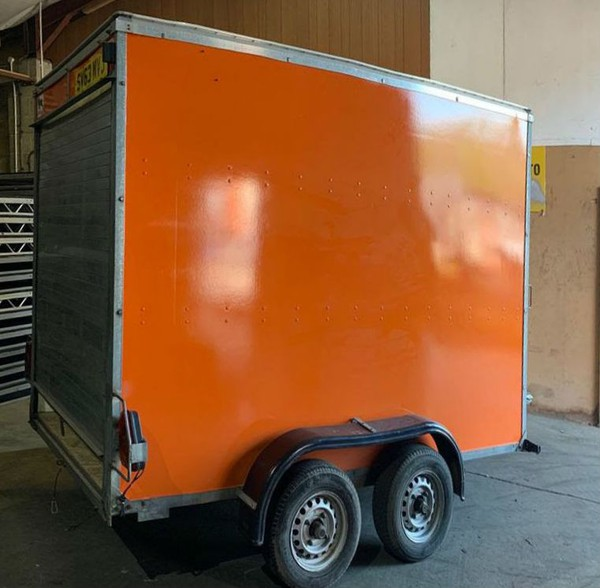 Orange box trailer twin axle