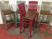 High bar stools in Red, green and grey