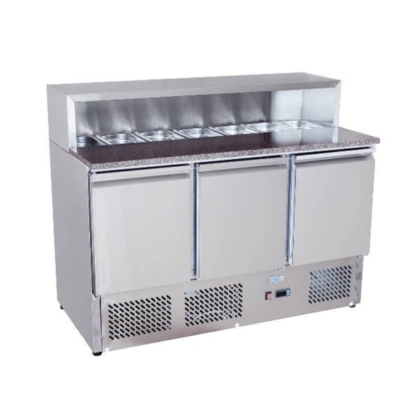 Brand New Atosa Ice-A-Cool ESL3854GR 3 Door Bench Fridge Saladette	(AW9043)