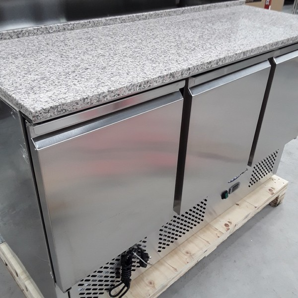 Buy Brand New Atosa Ice-A-Cool ESL3854GR 3 Door Bench Fridge Saladette(AW9043)