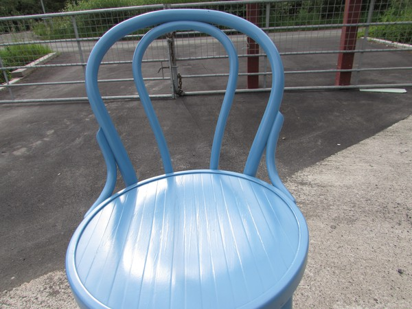 Bentwood style high bar chair in blue