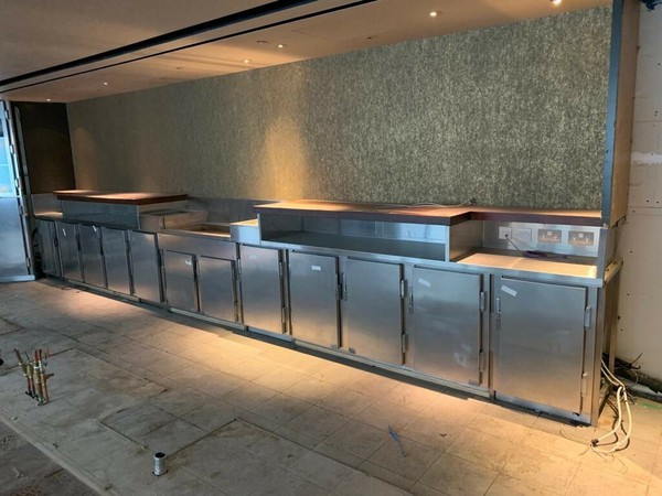 Approx 9 metre Back Cocktail Bar with Remote Fridges and Ice Drop