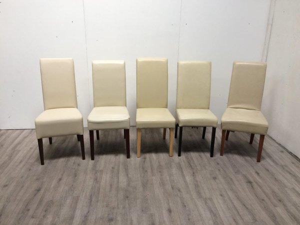 Tall back cream dining chairs