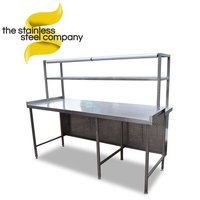 Stainless steel table with chef's gantry