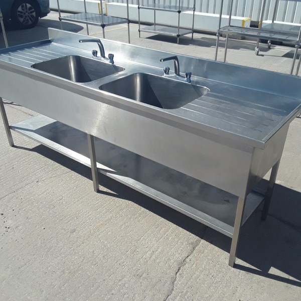 Used Stainless Steel Double Sink (9084)