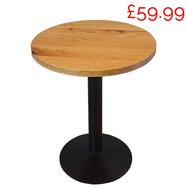 Job Lot of 5x Solid Oak 60cm Round Cafe Tables