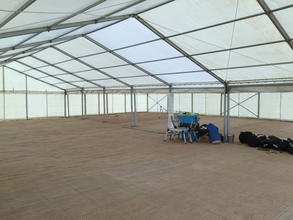 Joining two 9m framed marquees with gutters